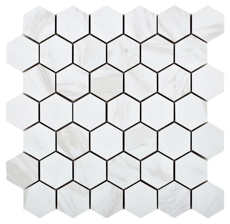 Volakas Premium 2x2 Hexagon Matte, Glazed Porcelain  Mosaic