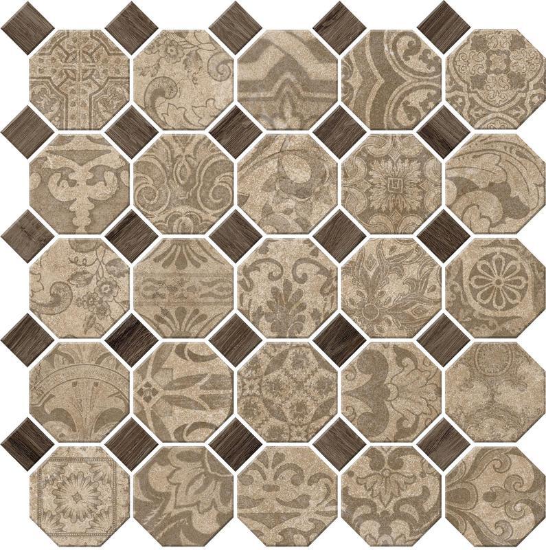 Rhetoric Philosopher Beige Mix Matte, Octagon-With-Dot, Porcelain, Mosaic