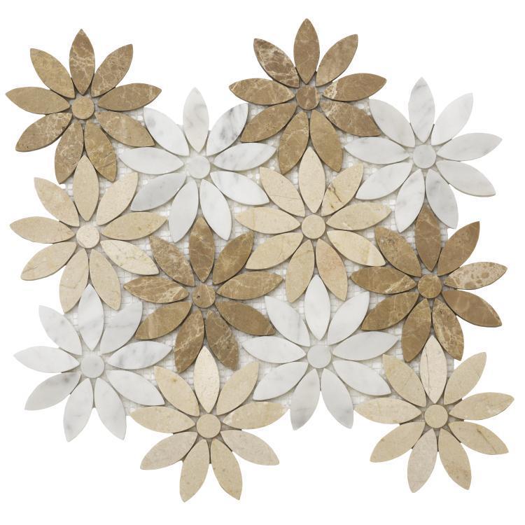 Daisy Sunflower Flower Polished Marble  Mosaic