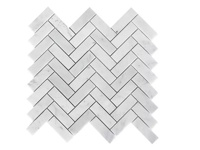 Stone Mosaic Italian Carrara White 1x3 Herringbone Honed Marble