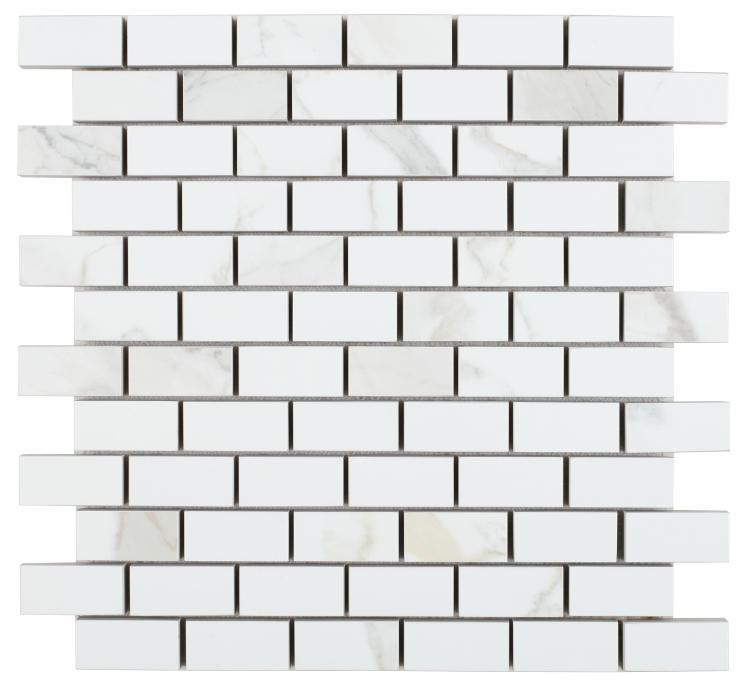 Calacatta Dorado 1x2 Brick Matte, Glazed Porcelain  Mosaic
