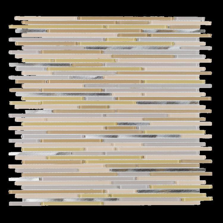 Metal Whiskers Beige Linear  Glass  Mosaic