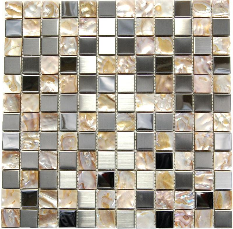 Stainless Steel Mosaics Andromeda Hb Yge003-3 Shell Mix Square Polished   Mosaic (Discontinued)