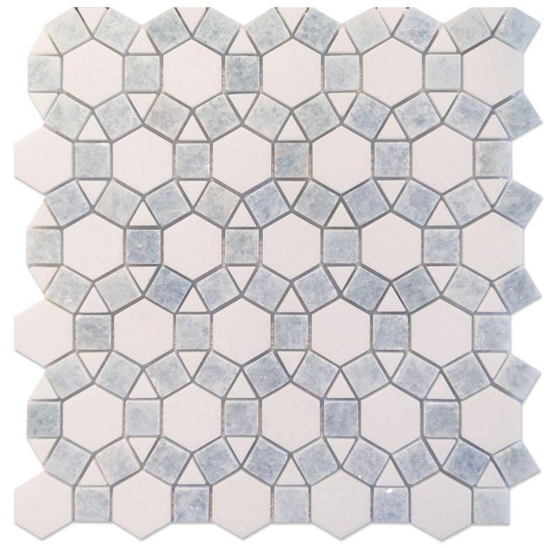 Aether Crystal Ocean Circular Honed Marble  Mosaic