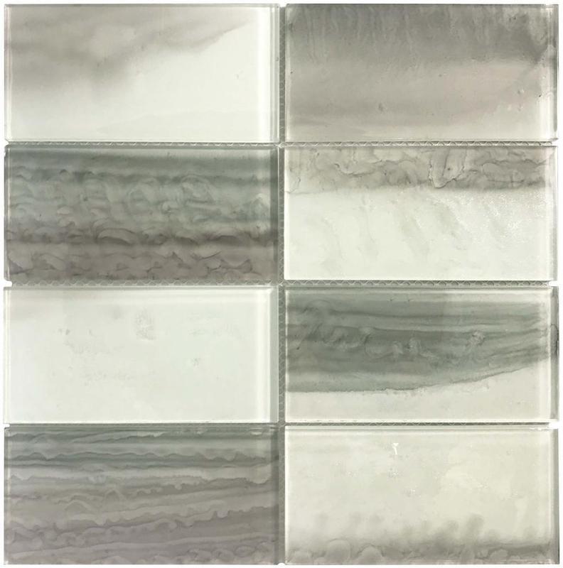 Cloud White Silver 3x6 Rectangle Glossy Glass  Mosaic