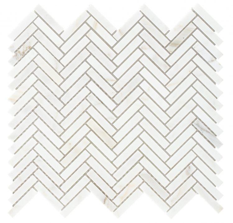 Chevron Herringbone Calacatta Honed Marble  Mosaic