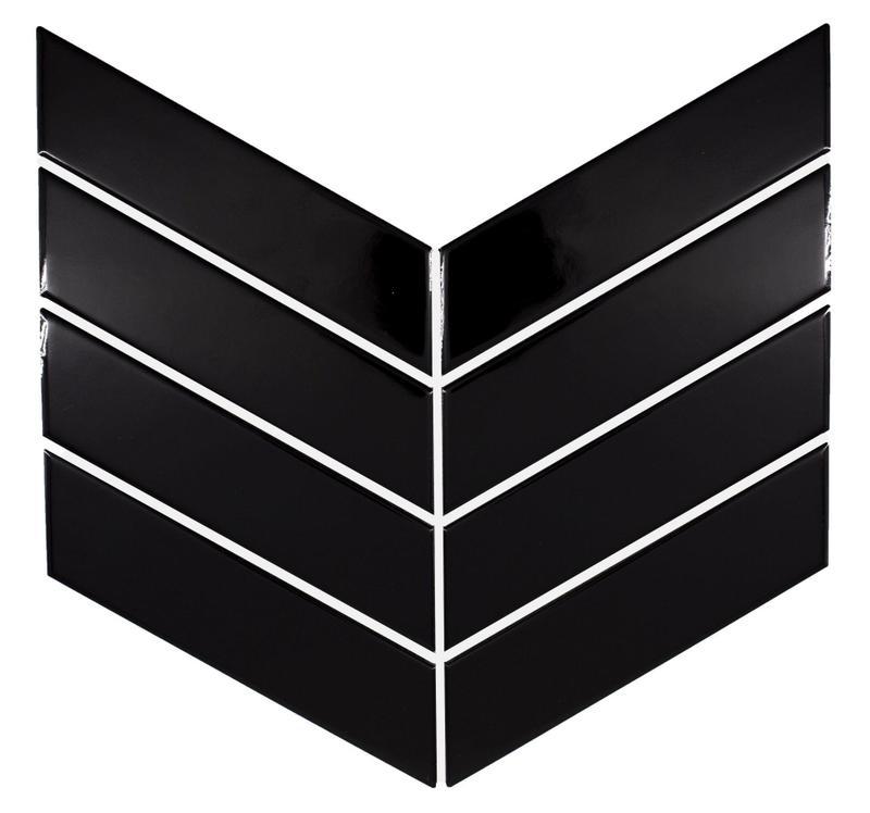 Chevron Black Glossy 2x7 Ceramic  Tile