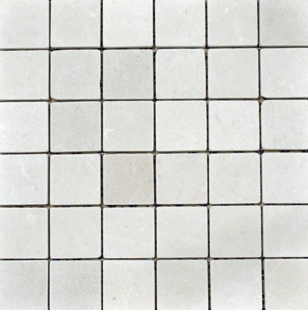 Marble Crema Marfil 2x2 Square Tumbled   Mosaic