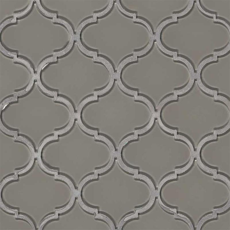 Backsplash Wall Tile Decorative Mosaics Pebble Arabesque Glossy, Dark Grey, Glass, Mosaic