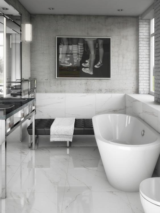 Carrara Grey Polished, Glazed 12x24 Porcelain  Tile