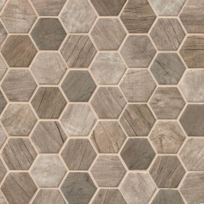 Backsplash Wall Tile Decorative Mosaics Driftwood 2 in, Matte, Brown, Hexagon, Glass, Mosaic