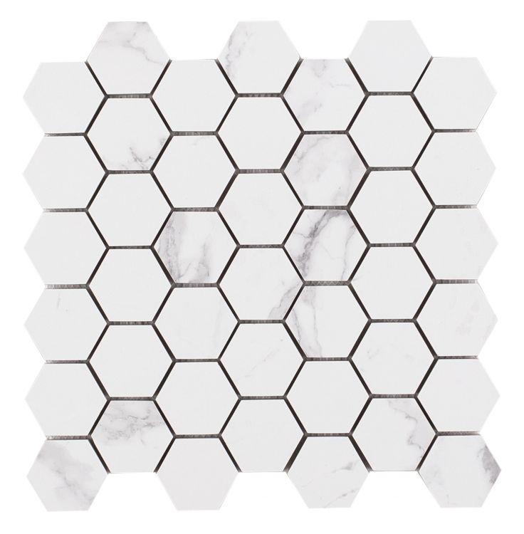 Carrara Premium Stone 2x2 Hexagon Matte, Glazed Porcelain  Mosaic