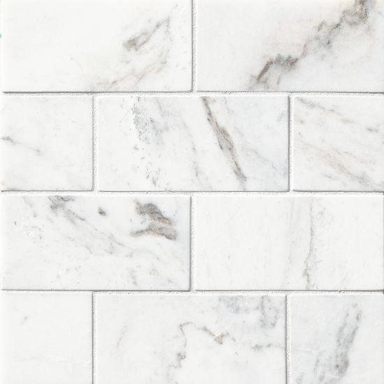 Glorious White Marble Tile 3x6 Polished   0.38 in