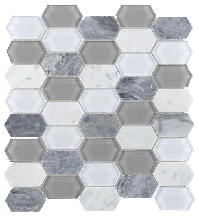Elongated Hex Montage Grey Elongated Hexagon  Glass  Mosaic