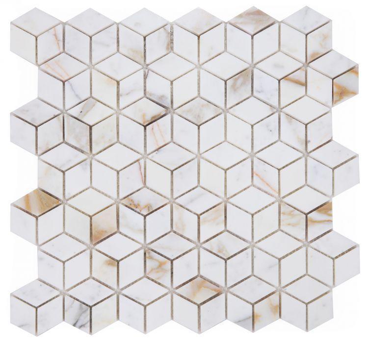 Precious Stone Calacatta Gold Cubic Polished Marble  Mosaic