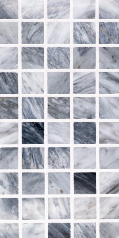 Sto Re Bardiglio 1-1/8x1-1/8 Square Polished Natural Stone  Mosaic