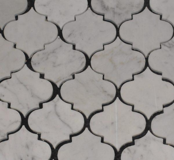 Marble Carrara White Mini Moraccon 2.5 in  Polished   Mosaic
