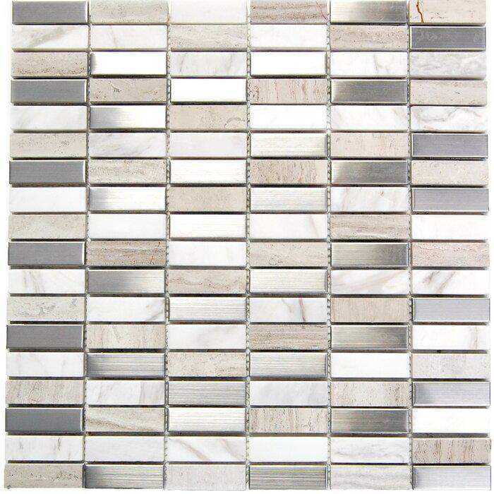 Stainless Steel Mosaic Stone 5/8x2  Mix Mixed