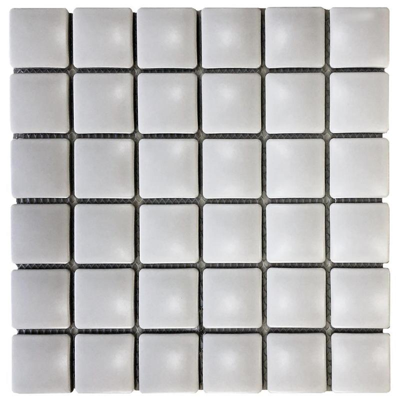 Pillow Light Grey 1.75x1.75 Square Matte Porcelain  Mosaic