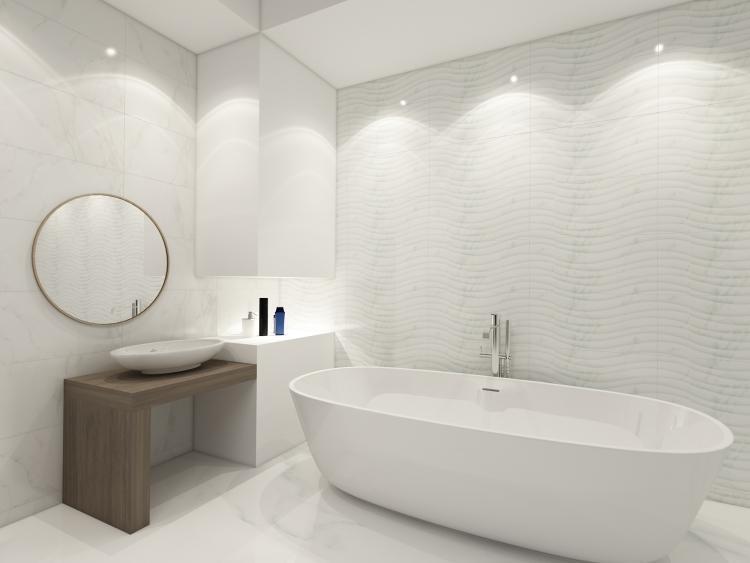 Carrara Art Flow Polished 12x24 Ceramic  Tile