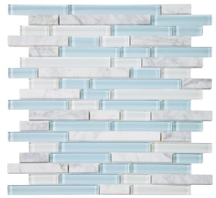 Linear Glass Carrara Turquoise Mosaic