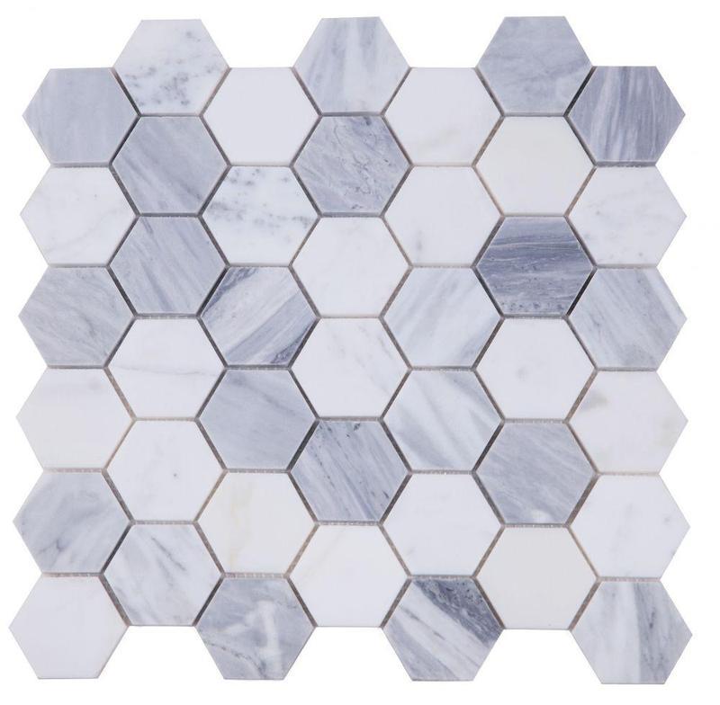 Hexagon Dusk 2x2  Polished Marble  Mosaic