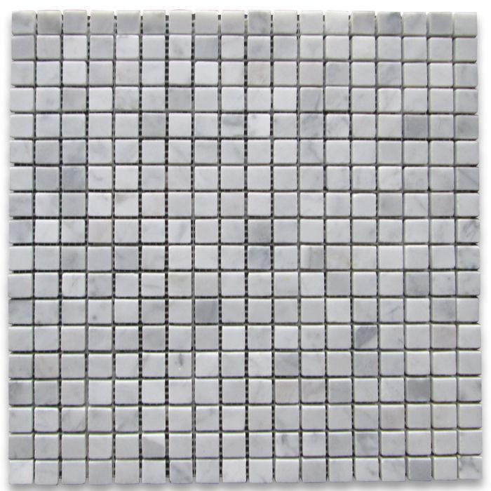 Carrara White 5/8x5/8 Square Polished Marble  Mosaic
