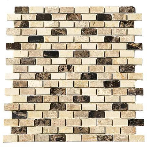 Stone Mosaic Emperador Dark Light Crema Marfil 5/8x1-1/4 Brick Polished Marble
