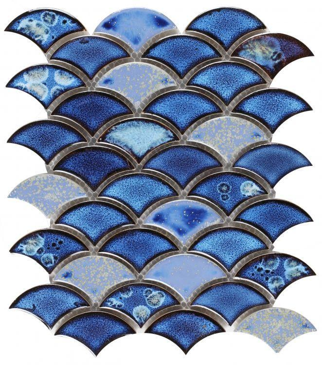 Dragon Scale Royal Blue Porcelain  Mosaic