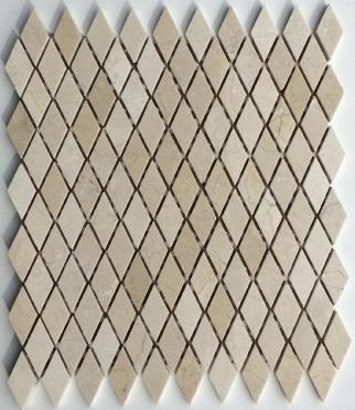 Marble Crema Marfil 1x2 Rhomboid Polished   Mosaic