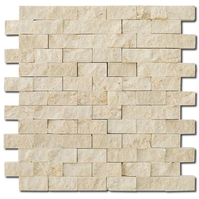Botticino 1x2 Brick Split-Face Marble  Mosaic