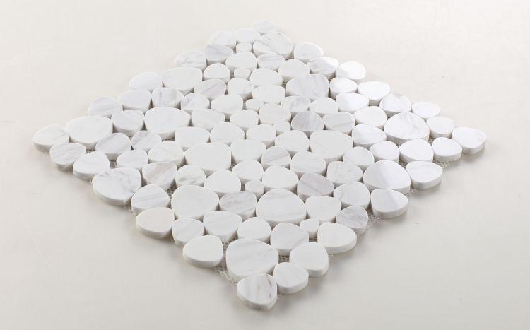 Aphrodite White Pebble Polished Marble  Mosaic