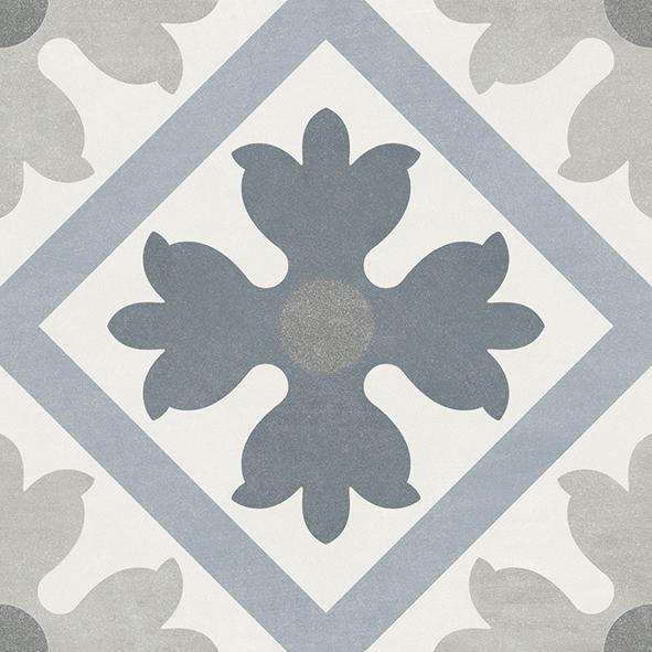 Fiore Martia 6x6, Glazed, Blue, Gray, White, Square, Porcelain, Tile