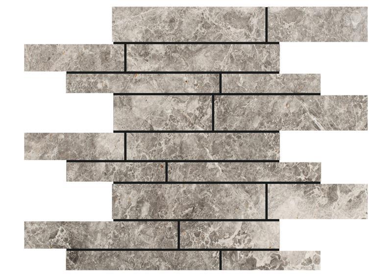 Marble Silver Tundra Grey Linear Polished   Mosaic