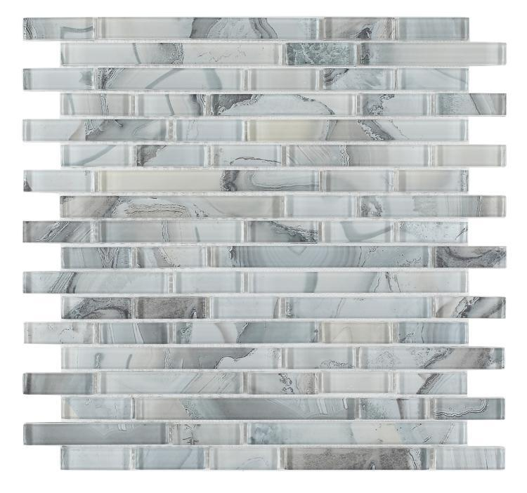 Shell Grey Linear Glossy Glass  Mosaic