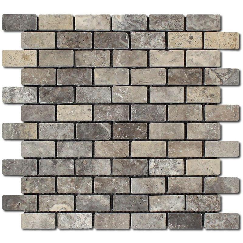 Travertine Silver 1x2 Brick Tumbled   Mosaic