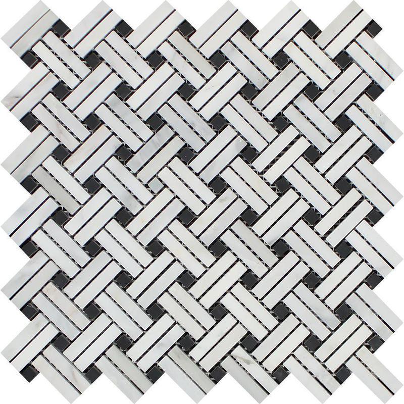 Marble Oriental White Stanza W Black Dot Stanza  W /Dot Polished   Mosaic