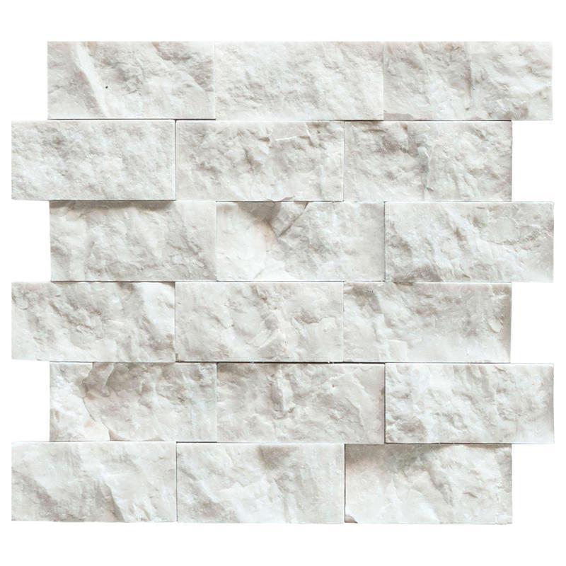Marble Calacatta Gold 1x2 Brick Split-Face   Mosaic
