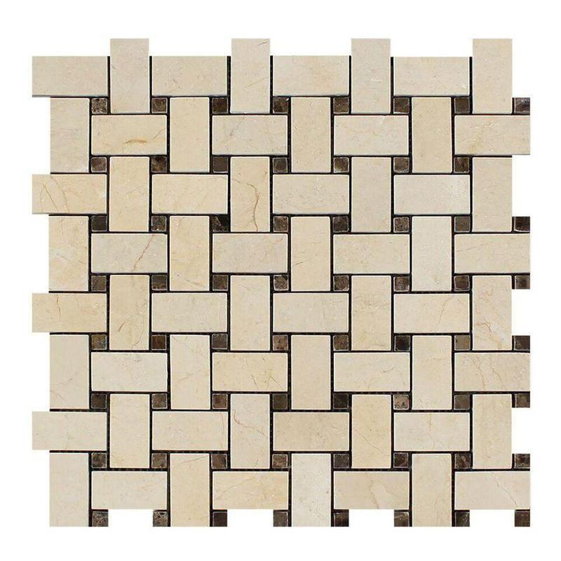 Crema Marfil 1x2 Basketweave W/ Emperador Dark Dots  Marble  Mosaic