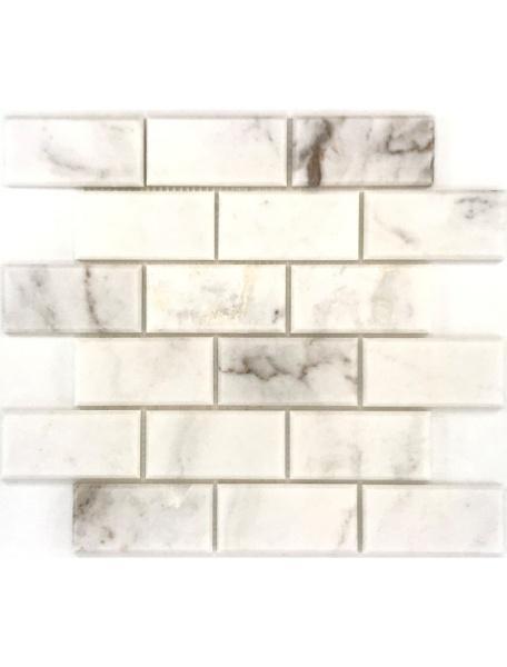 Stone Mosaic Kalta Bianco White 2x4 Brick Polished Marble