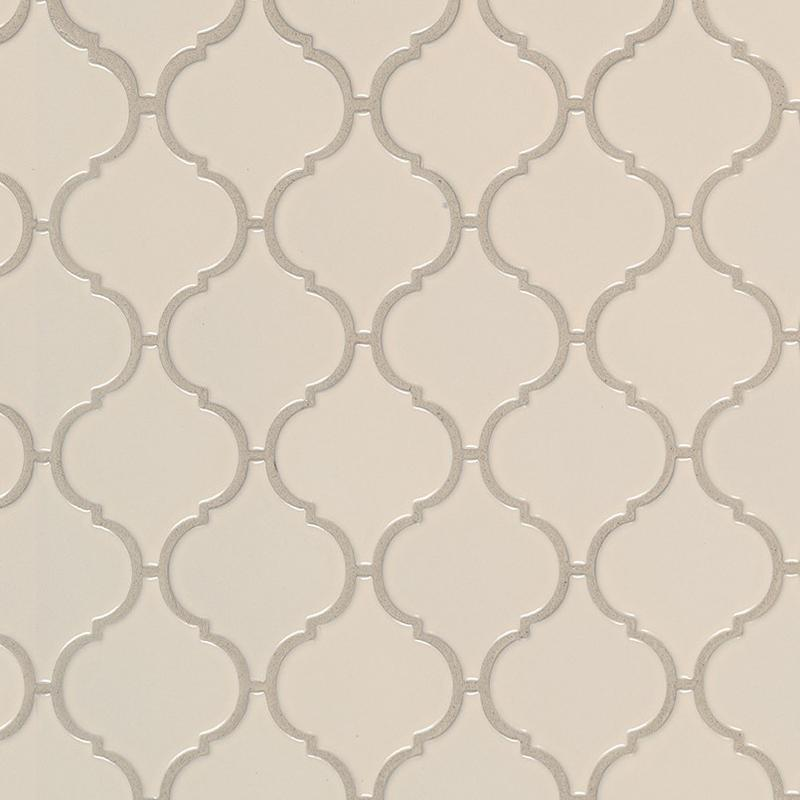 Domino Collection Almond Glossy Arabesque Beige, Porcelain, Mosaic