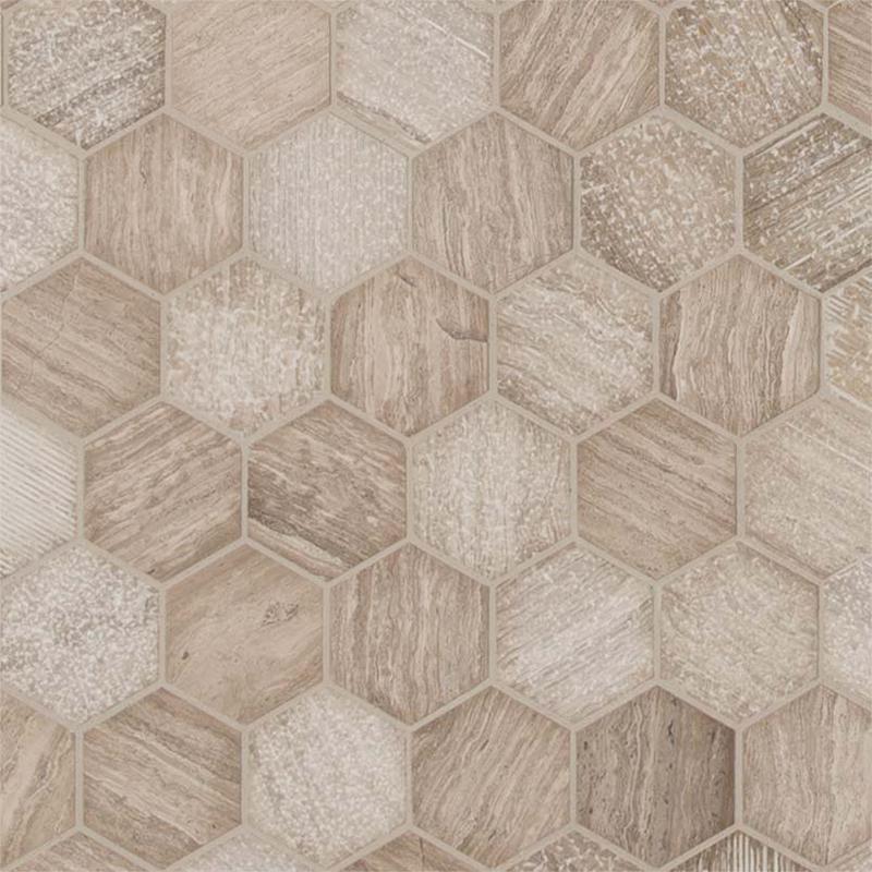 Backsplash Wall Tile Decorative Mosaics Honey Comb 2 in, Mix, Light Grey, Hexagon, Marble, Mosaic