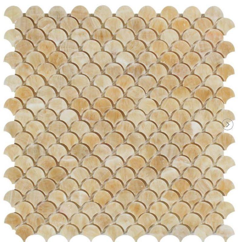 Onyx Honey 1 in Fan Polished   Mosaic