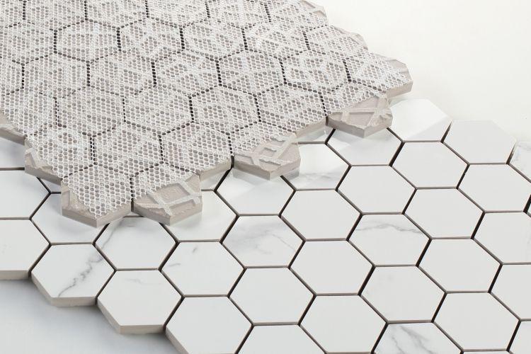 Carrara Premium 2x2 Hexagon Polished Porcelain  Mosaic