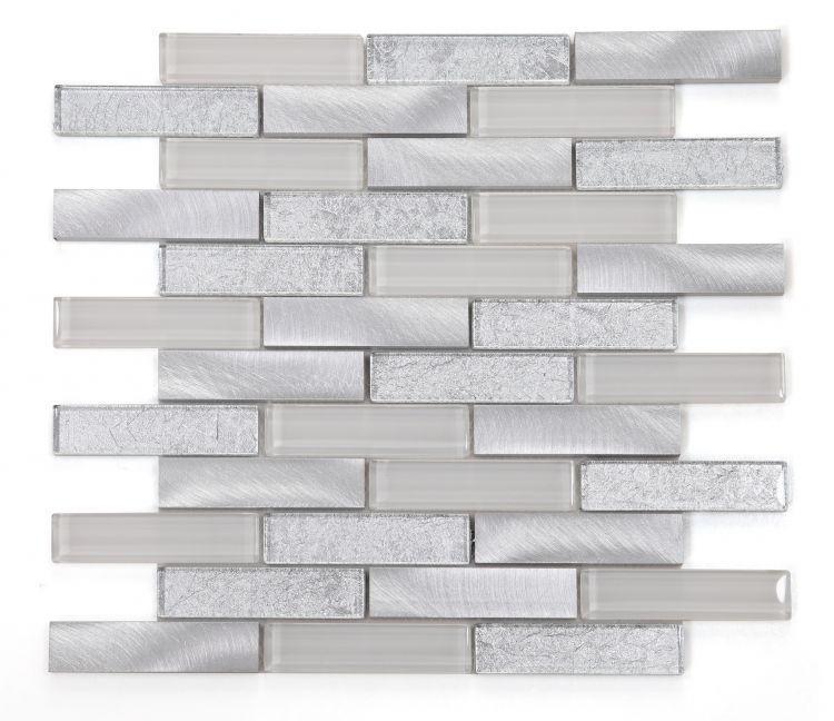 Metal Metallic Silver Linear Polished   Mosaic