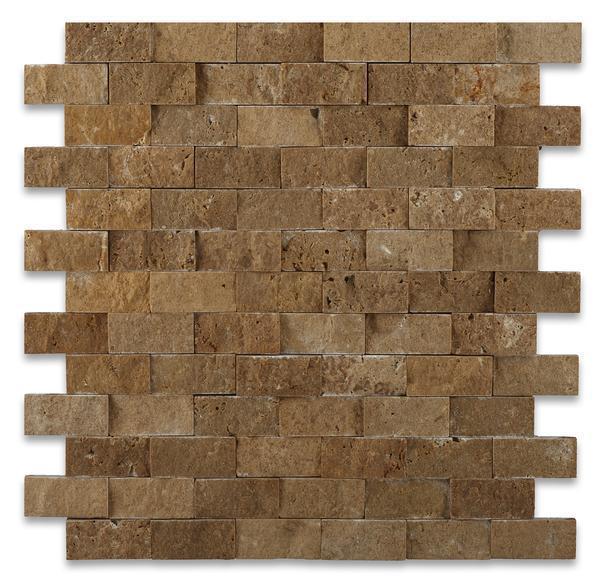Noce 1x2 Brick Split-Face Travertine  Mosaic