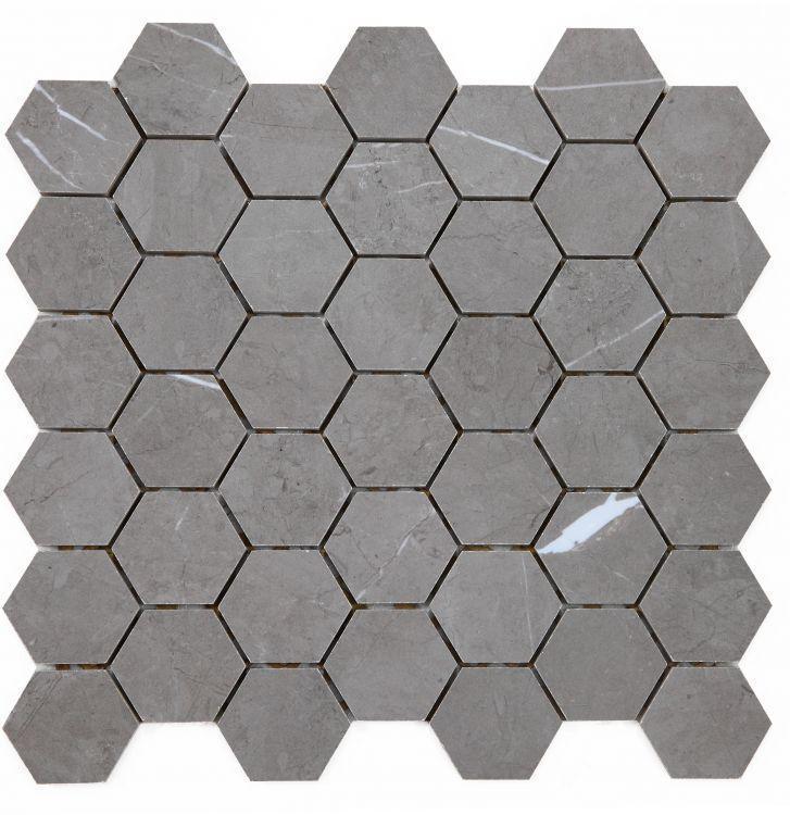 Lava Natural Grey 2x2 Hexagon Glazed, Matte Porcelain  Mosaic