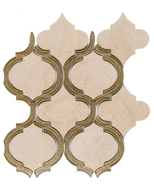 Alice Gold Arabesque Glass   Mosaic