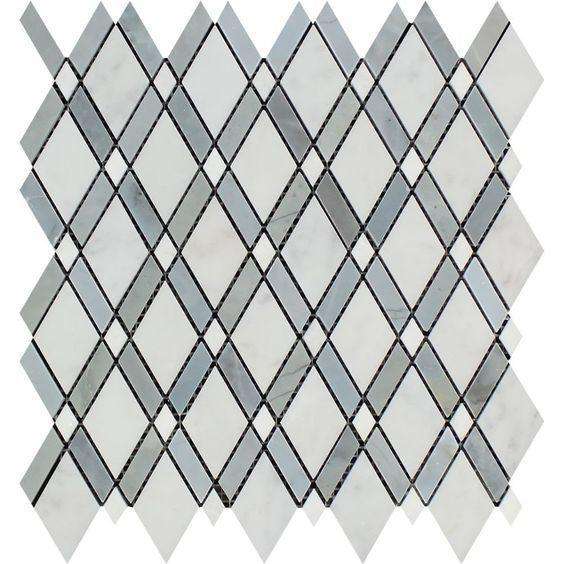 Oriental White Asian Statuary Marble Lattice Polished   Mosaic