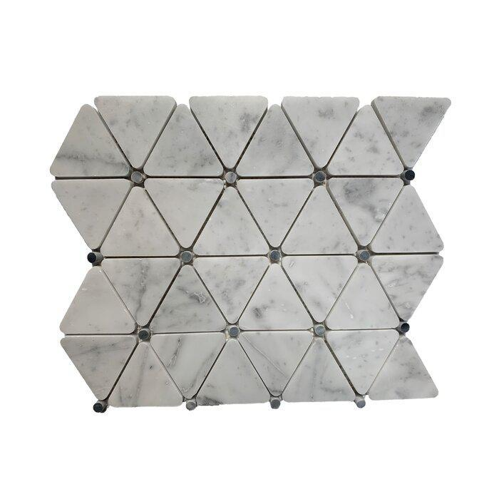 Stone Mosaic Carrara With Black Dot Triangle Polished Marble